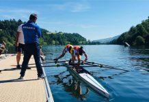 Liber la antrenamente la Snagov. Canotoarea secolului isi incurajeaza sportivii