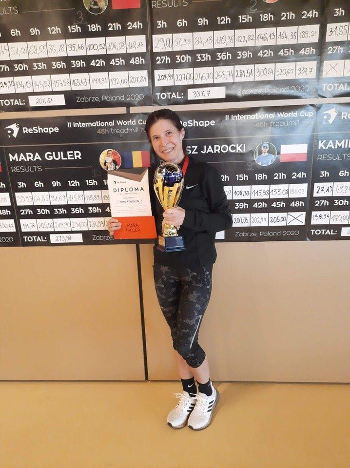 48 de ore de alergare pe bandă cu Mara Guler! Trofeu câștigat în Polonia