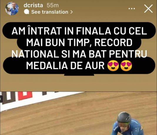Daniel Crista a câștigat aurul la proba de urmărire individuală (4000 metri) la Cupa Mondială din Columbia.